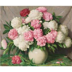Sharp, Joseph H. - Red and White Peonies in a Chinese Bowl (1859-1953)
