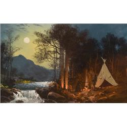 Wimar, Carl - Moonlight Encampment  (1828-1862)