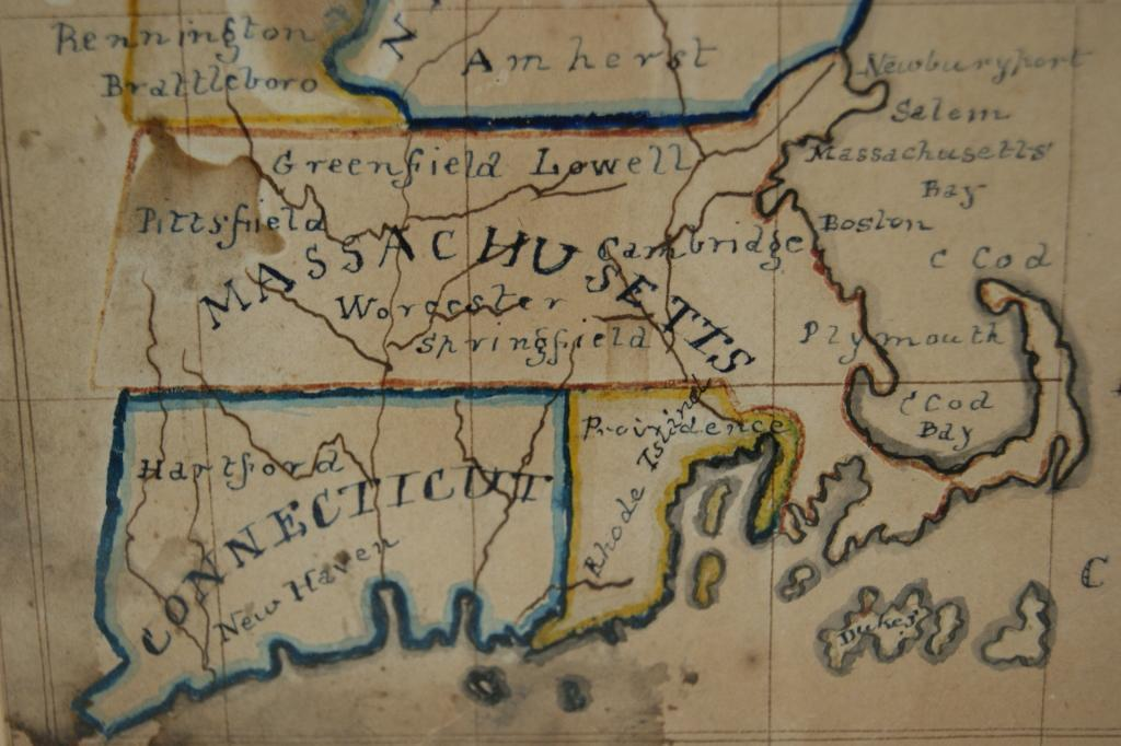 Old New England Map.Hand Drawn Map By 12 Yr Old Ca 1841 New England From The Richard