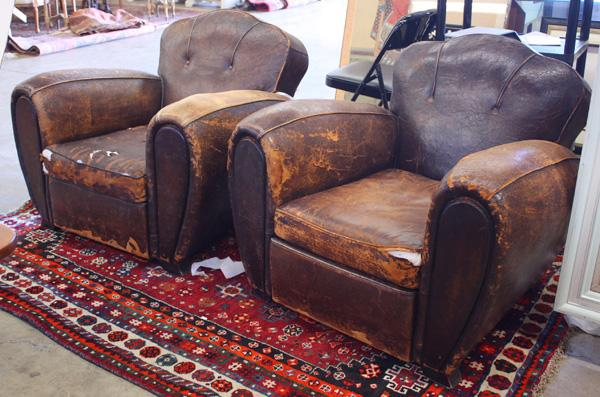 French Art Deco Leather Club Chairs. Loading Zoom