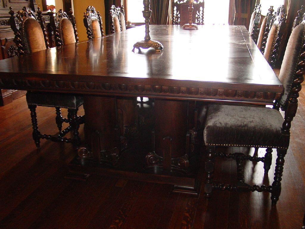 Custom made by troy wesnidge dining room table s12 39 long for Dining room 8 feet wide