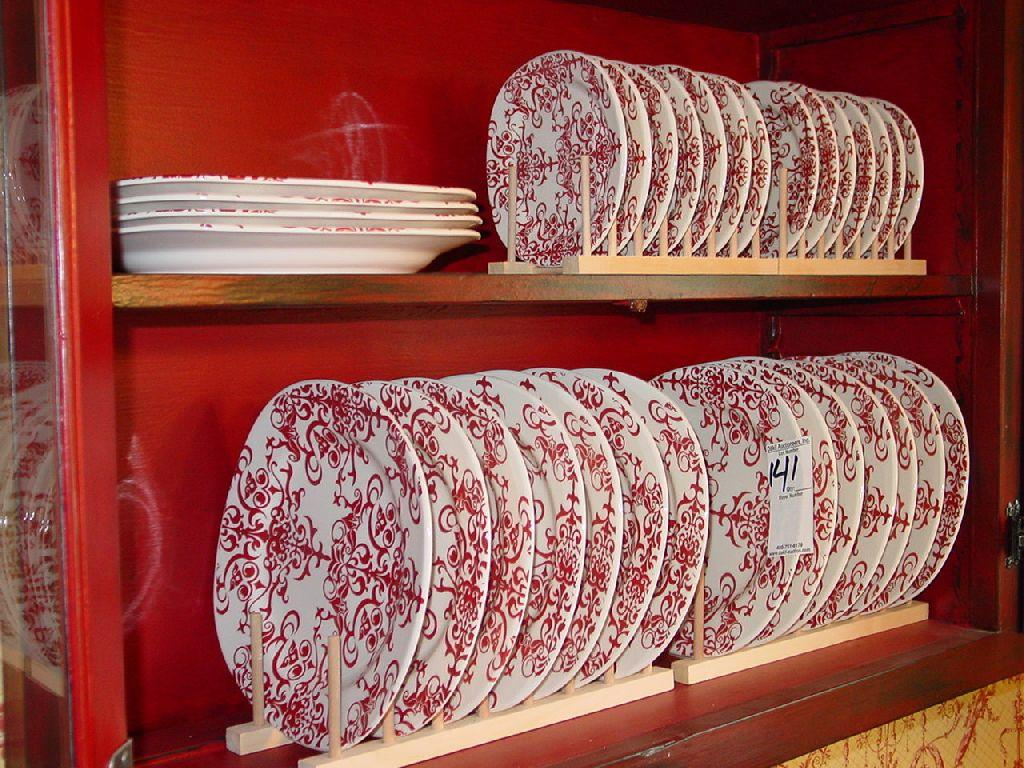 Pottery Barn Set Of Red And White Dishes W Stands 32x