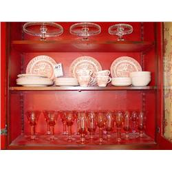 WESSEX COLLECTION, MADE IN ENGLAND RED AND WHITE FINE DISHWARE (42X)