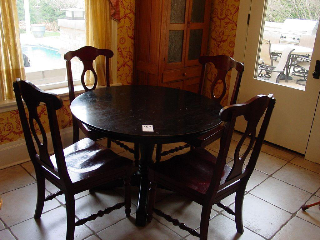 Aris Pedestal Table From Pottery Barn Black Wooden Round