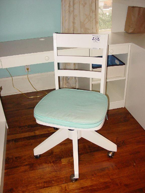 POTTERY BARN WHITE SWIVEL ROLLING DESK CHAIR WITH BLUE SEAT CUSHION.  Loading Zoom
