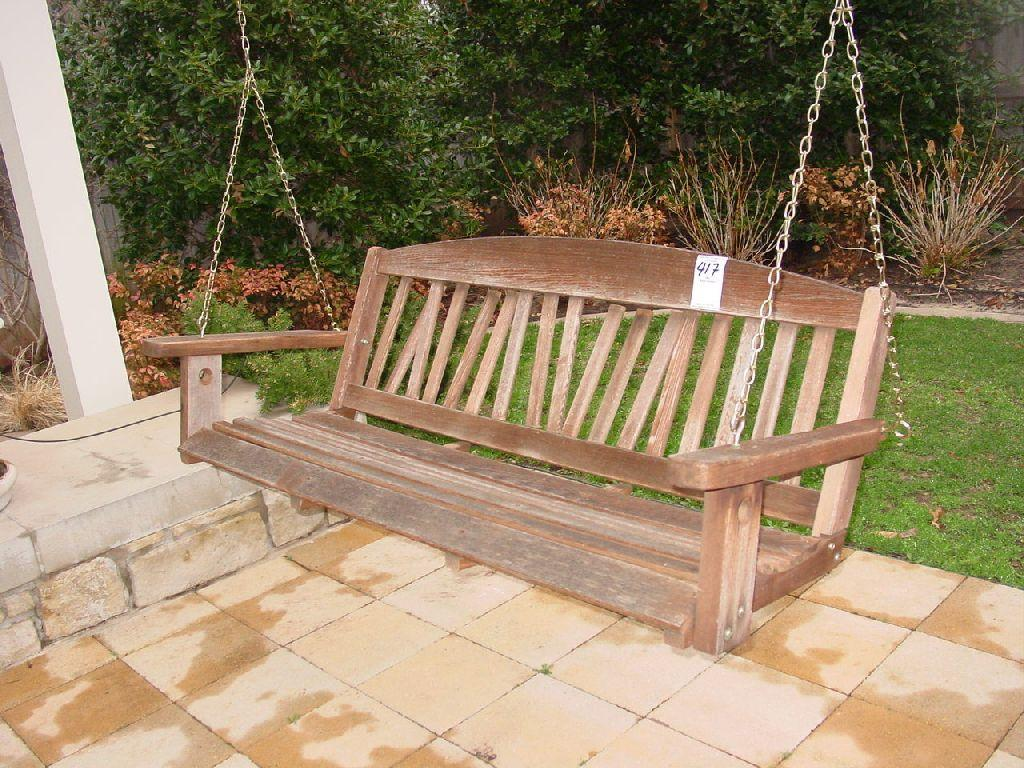 Hanging Wooden Bench Outdoor Swing Back Lattices Are Partially Broken