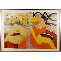 Alain Bonnefoit, Nude in Bed, Lithograph