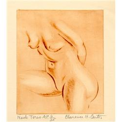 Clarence Holbrook Carter, Nude Torso, Etching