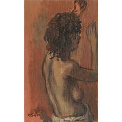 Moses Soyer, Profile of a Nude Woman, Oil Painting