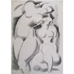 Alexander Archipenko, Two Nudes, Offset Lithograph