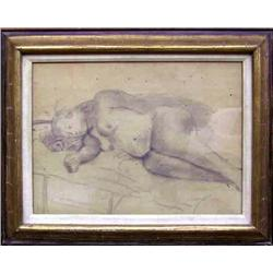 Raphael Soyer, Reclining Nude, Drawing