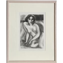 Ernest Fiene, Sitting Nude, Lithograph