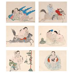 Chinese Erotic Portfolio of Six Ink Drawings with Watercolor