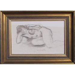 Moses Soyer, Nude, Charcoal Drawing