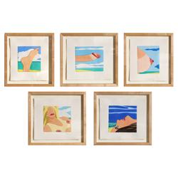 Tom Wesselmann, Seascape Portfolio of Five Mixed Media Etchings
