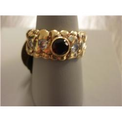 14K Gold Nugget Ring W/Burmese Ruby $ Diamonds, 9.4 Grams Gold