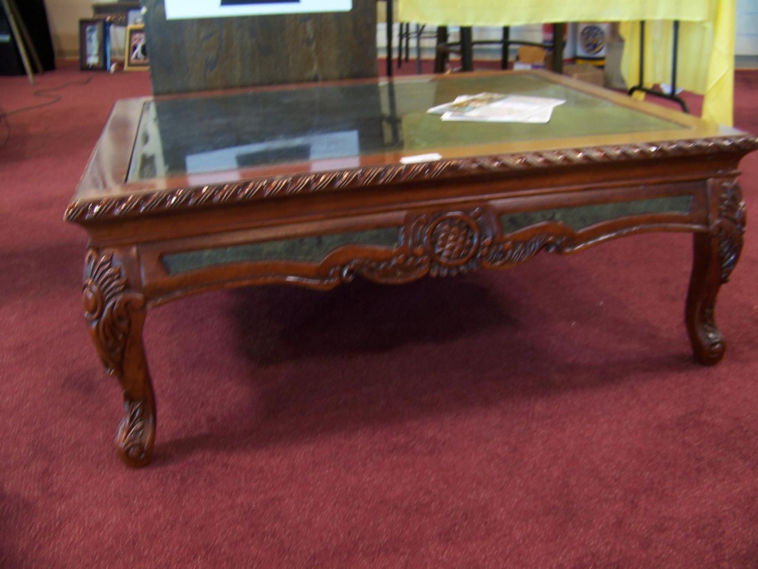 image 2 carved wood marble slate coffee table - Carved Wooden Coffee Tables