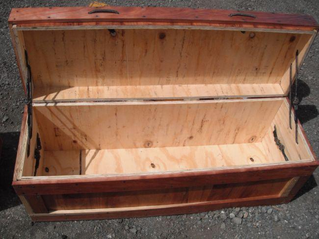 Hinged plywood tool box for Wooden attic box bed