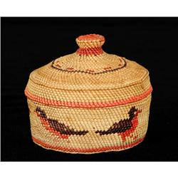 Nuu-chah-nulth Knob Top Basket with Robin Design 3 1/8  D. 2 3/4  H.  Good Condition