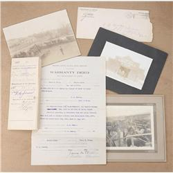 Binder of eleven original documents, several  with original envelops and five original  cabinet phot