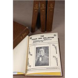 Five bound books containing seven years of  original Texas Gun Collector Association  Magazines cove