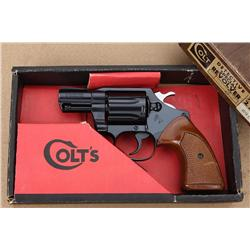 Colt Detective Special DA revolver in factory  two piece wood grained cardboard box and end  label,