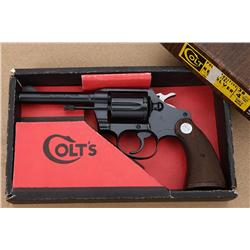 Colt Police Positive Special DA revolver in  factory two piece wood grained cardboard box  with end