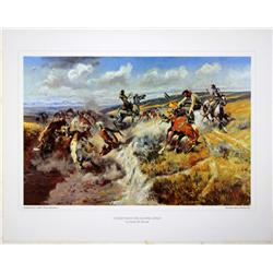 "Lot of 7 prints consisting of: A) ""The Smoke  Signal"" by Frederic Remington. Image size  approx. 16"