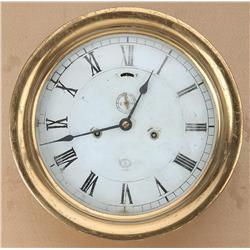 "Large brass ship's clock by American  Schaeffer & Budenberg, approx. 12-1/2"" in  diameter in overall"
