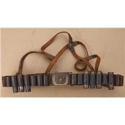 Cartridge belt for 12-bore blackpowder  shotgun shells with U.S. Eagle buckle from  the frontier era