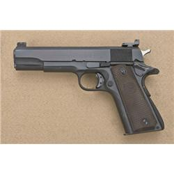"Colt Government Model semi-auto pistol, .45  cal., 5"" barrel, black finish, brown  checkered rubber"