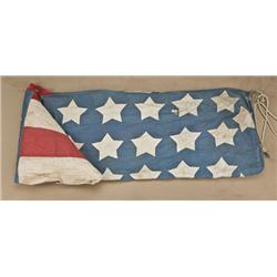 American Flag or banner, circa approx. 1876,  purportedly from a fort in North Dakota and  was flown