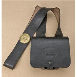 "Civil War cartridge box with original belt,  eagle plate, and tin liners. Marked ""R. Nece,  Philadel"