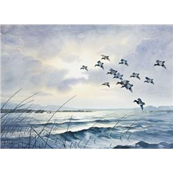 "Original watercolor entitled ""Evening Light"",  approx. 22""h by 32"", by noted wildlife  artist Lance"