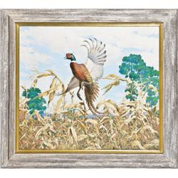 "Original oil painting on canvas of flushing  pheasant by Richard Bishop, approx. 24""h by   27"" (artw"