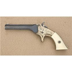 "Engraved T.J. Stafford single shot derringer,  .22 cal., 3-1/2"" barrel, blue finish, brass  frame, i"