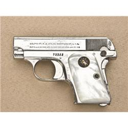 "Colt Model 1908 pocket semi-auto pistol, .25  cal., 2"" barrel, nickel finish, Colt  medallion pearl"