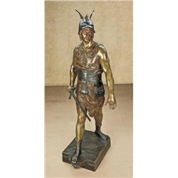 Original 19th or early 20th century bronze  statue showing  ancient warrior with sword in  armor. Me