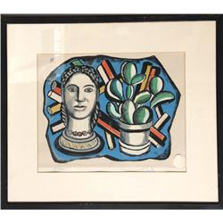 Fernand Leger, Head and Plant, Serigraph