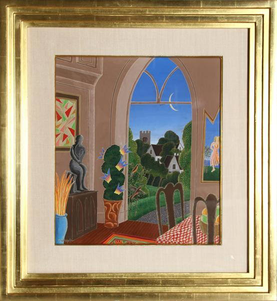 Thomas mcknight dining room interior gouache painting for Dining room paintings sale