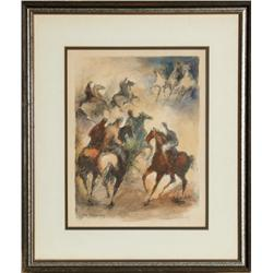 William Meyerowitz, Horseback Riders in Central Park, Lithograph