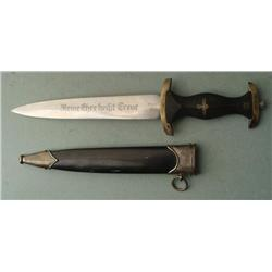 NAZI SS DAGGER-MARKED ALCOSO-BLACK GRIP AND SCABBARD