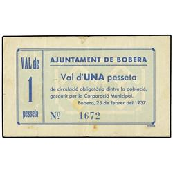 1 Pesseta. -  25 Febrer 1937. -  Aj. de BOBERA. -  ESCASO. AT-523; T-560. MBC. -  -