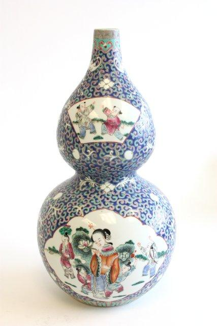 Chinese Double Gourd Vase Qing Long Mark