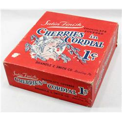 VINTAGE CHERRIES IN CORDIAL 1 CENT CANDY STORE ADVERTISING DISPLAY BOX