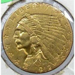 1912 TWO AND A HALF DOLLAR INDIAN HEAD GOLD COIN - AU