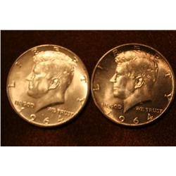 1964 Kennedy Half Dollars-Lot of 2