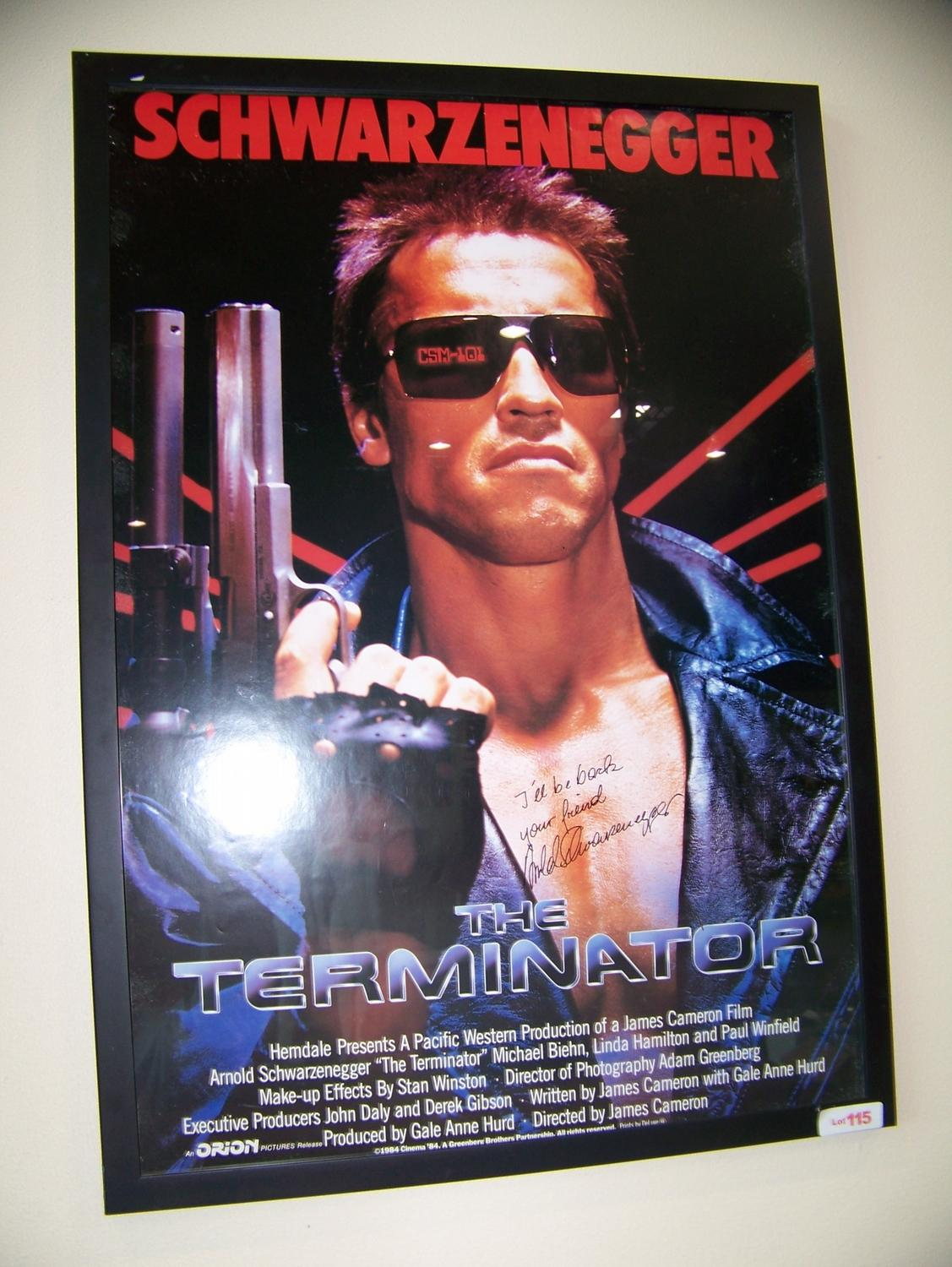 ARNOLD SCHWARZENEGGER HAND SIGNED ORIG TERMINATOR MOVIE POSTER ILL BE BACK Loading Zoom