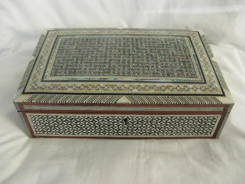 Egyptian Mother of Pearl Inlaid Jewelry Box