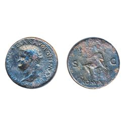 NERO, AD 54-68. AE Sestertius minted at Lugdunum, c. AD 66. Obv: Laureate head left of Nero with glo